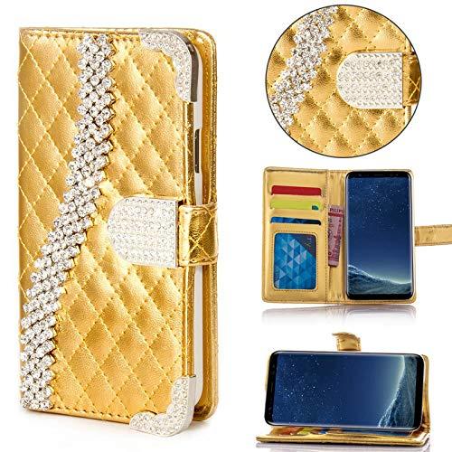 numerva Samsung Galaxy S3 Hülle, Strass Schutzhülle [Bling Case, Standfunktion, Kartenfach] PU Leder Tasche für Samsung Galaxy S3 Neo Handytasche Cover [Gold]