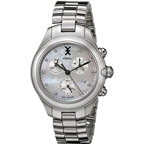 Ebel Onde Reloj de mujer cuarzo suizo 36mm cronógrafo correa y caja de acero dial blanco 1216177
