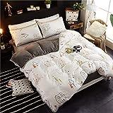 AZSUT Vier Stück Baumwolle bedeckt Bettdecke, Reine Baumwolle Korallen Haufen Bettwäsche, Herbst und Winter Warmes Bett Gesetzt, 1,5 * 2,0 m, ruhig