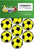 28 Aufkleber, Fußball, Sticker, 50 mm, gelb/schwarz, aus PVC, Folie, bedruckt, selbstklebend, EM, WM, Bundesliga