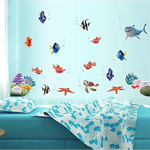 Aquarium Unterwasserwelt Fisch Wandaufkleber Bad Bad Dekorative Wandaufkleber Wasserdicht Kinder Cartoon Wandaufkleber 45 X 60 Cm - Aquarium Holz-thomas