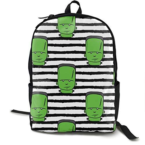 Frankenstein On Stripes - Halloween Fabric Adult Premium Travel Backpack, Water-Resistant College School Bookbag, Sport Daypack, Outdoor Rucksack, Laptop Bag for Men&Women