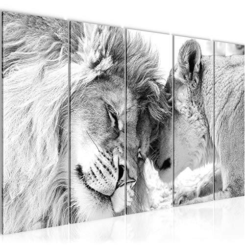 Bilder Löwen Liebe Wandbild 150 x 60 cm Vlies - Leinwand Bild XXL Format Wandbilder Wohnzimmer Wohnung Deko Kunstdrucke Weiß 5 Teilig - MADE IN GERMANY - Fertig zum Aufhängen 002156c -