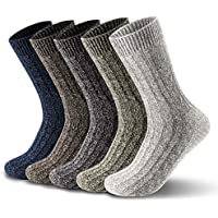 5 Pairs of Mens Thick & Warm Wool Socks(Size: UK 7-12 EU 40-46.5)