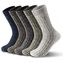 ElifeAcc 5 pares de calcetines de invierno para mujer, gruesos, de algodón cálido,