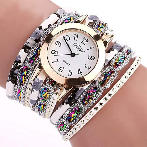 Jingyuu Damen-Armbanduhr, Vintage, geflochtenes Armband aus Kunstleder, Armband mit Kette, Modeschmuck, Geschenk zum Geburtstag