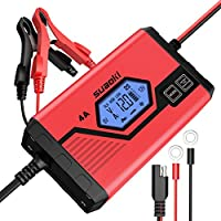 Suaoki Car Battery Charger and Maintainer 4 Amp 6V 12V Fully Automatic 8-Stage Charging for Cars Truck Motorcycle with LCD Screen, UK Plug and Carry Bag