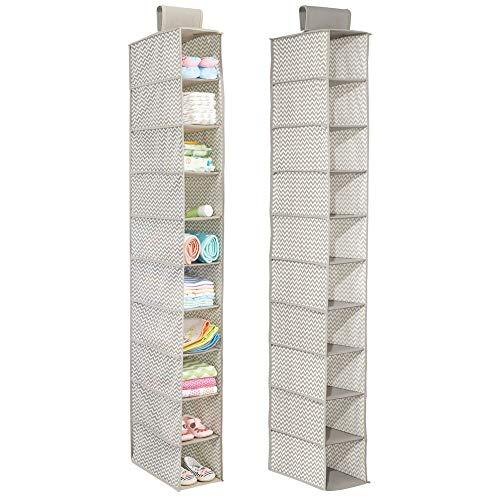 Mdesign portaoggetti in stoffa da appendere (pacco doppio) - organizer armadio per bambini - portaoggetti a 10 scomparti per vestiti, asciugamani, coperte - colore: lino
