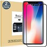 [2-Pack]iPhone X Pellicola Protettiva, EasyULT 2 Pack Copertura Completa Pellicola Protettiva in Vetro Temperato per iPhone X-Nero(Bordi Arrotondati da 2,5D-Shockproof)