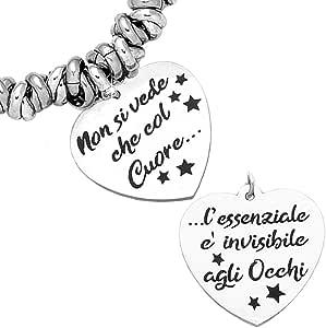 Beloved Bracciale da donna, braccialetto in acciaio emozionale con nodini - frasi, pensieri, parole con charms - ciondolo pendente - misura regolabile - incisione