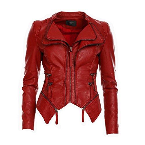 Mayaadi Damen Kunst-Lederjacke im Biker-Stil moderne Übergangsjacke in schöner Leder-Optik WS-901 (XL, Bordeaux) (Rot Leder Jacken Für Frauen)
