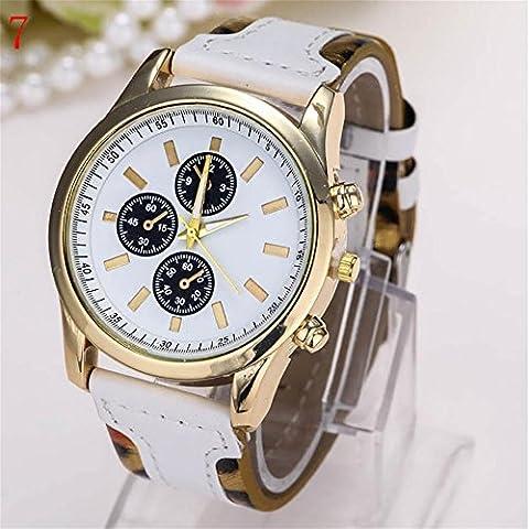 WW Moda diamante dial orologio al quarzo cinturino in pelle , 7- white
