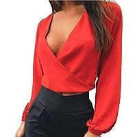 Juleya Blusa Mujer Sin Respaldo Pajarita Camisa Color Sólido Tops Blusas Elegante Holgado Camisas de Cómodo y Suave XS -L
