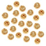 Beadaholique Fluted Round Metal Beads, 6mm, 22K Gold Plated