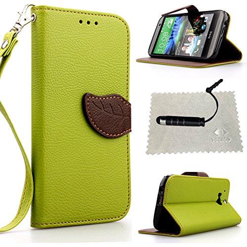Custodia per HTC One M8 Verde,TOCASO Flip Wallet Case PU