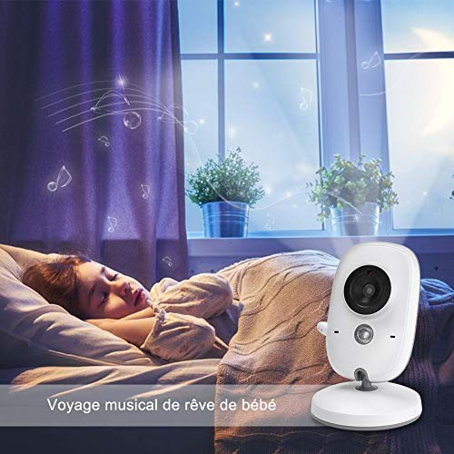 """GHB Bébé Moniteur 3.2"""" LCD Couleur Babyphone Caméra Vidéo Bébé Surveillance 2.4 GHz Bidirectionnelle Vision Nocturne"""