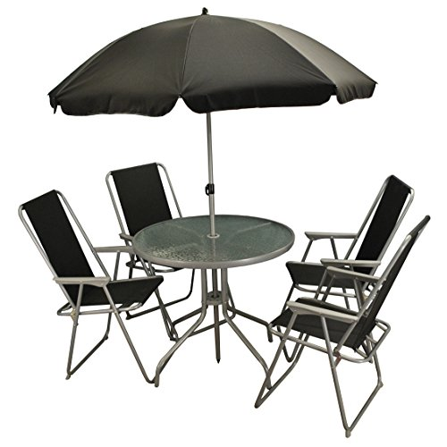 Selections 6 Piece Metal Garden Patio Furniture Set with Folding Chairs