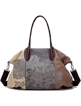 VADOOLL Damen Handtasche Vintage Umh?ngetasche Multi-Color Canvas Retro Schultertasche 32cmx43cmx16cm Rot