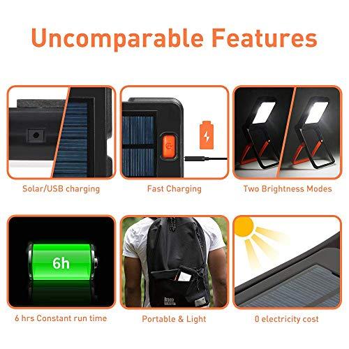 Neporal Luces Solares,Luz de trabajo portátil,luces camping portátil,360 ° Ajustable LED recargable...