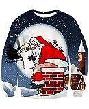 NEWISTAR Weihnachtpullover Herren Damen 3D Weihnachtsmann Gedruckt Pullover Damen Weihnachten Jumper Tops Sweatshirts Bluse XXL