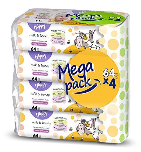 bella baby Happy Feuchttücher Milch & Honig, 4er Pack (4 x 64 Stück)