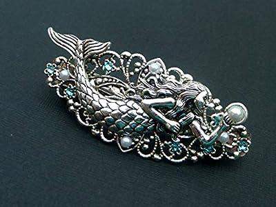 Pince à cheveux fantaisie avec sirène en argent turquoise