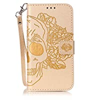 Samsung Galaxy S6 Edge Case [Free Tempered Glass Screen Protector],Mo-Beauty® Galaxy S6 Edge PU Leather Wallet Case With Hand Wrist Strap,Flower Floral Skull PU Leather Flip Wallet Case Cover For Samsung Galaxy S6 Edge (Gold,Skull)
