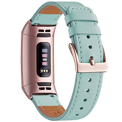 WFEAGL Armband Kompatibel für Fitbit Charge 3 Armband Leder, Klassisch Einstellbares Ersatzarmband Sport Accessories for Damen Männer Kompatibel für Fitbit-Charge3(ML,Tiffany Blau+Roségold Adapter)