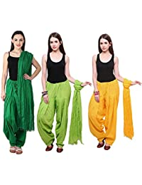 Fashion Store Women Cotton Patiala Salwar With Dupatta Combo Of 3 (Free Size, Yellow & Dark Green & Green )