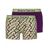 bruno banani Herren Boxershorts Short 2er Pack Glitch, 2er Pack, Mehrfarbig (Lime Print// Plum 2538), X-Large