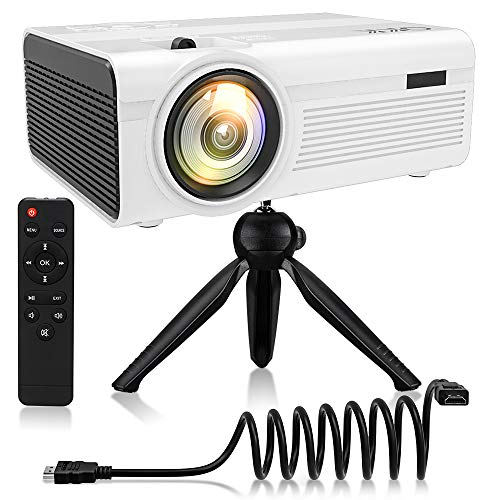 QKK Beamer, Mini Beamer mit Halterung, Videobeamer 2400 Lumens, unterstützt 1080P Full HD, Kompatibel mit Fire TV Stick, PS4, Xbox, Chromecast, HDMI, VGA, SD, USB, Heimkino Beamer, Weiß.