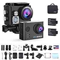 WiMiUS Sport Action Camera 4K Ultra HD Camcorder 12MP WiFi Waterproof Underwater Cameras 40M 170 Degree Wide Angle 2 Inch LCD Screen Sony Sensor 2 Rechargeable Batteries and Accessories Kits, L2, Black