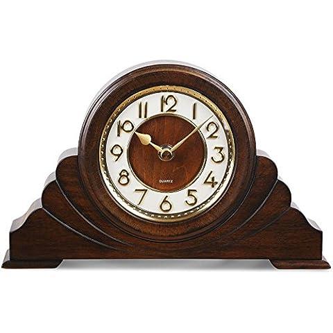 KHSKX Reloj relojes de oficina dormitorio sala de estar mesa clásica europea High-End reloj vintage de madera