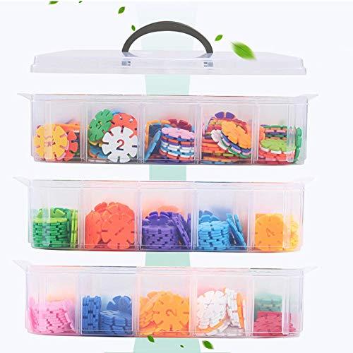 Boîte De Organiseurs Rangement Accessoires De Jouets Lego, Amovible 30 Grilles Lego Toy - Boîte De Rangement en Plastique Portable À Trois Couches pour Accessoires De Jouets Lego Transparent
