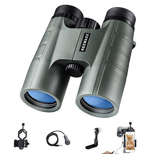 KEXWAXX 10x42 Binocolo Professionale Potente, Compatto HD Binocolo per Safari, Birdwatching, Prisma BAK4 Lenti Completamente Multistrato FMC con Adattatore per Smartphone, Adattatore per Treppiede