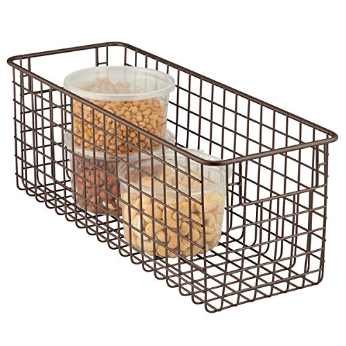 mDesign Allzweckkorb – der flexible Aufbewahrungskorb – geräumiger Drahtkorb mit Griffen – universelle Gitterbox – Farbe: Bronze