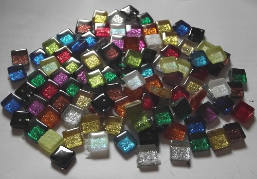 100g(app 108 tiles)Glass Mosaic Glitter Tiles 1x1cm Loose Mixed Venetian Sparkling Crystal Tiles Mixture of Colours Crafts Decoration by SOOTHING IDEAS®