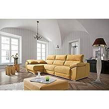 Sofá tres plazas (2 relax eléctrico) más chaiselongue izquierda tapizado en tela.Varios colores.