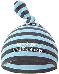 KLEINER FRATZ Baby Mütze Bedruckt mit NUR SCHAUEN - Nicht ANFASSEN (Farbe hellblau-grau) (Gr. 0-74)
