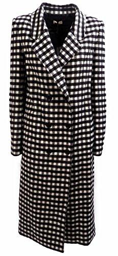 Cappotto Donna TWIN SET SA62LP Misto lana fantasia Lungo doppiopetto quadr Autunno Inverno 2016 Bianco nero S