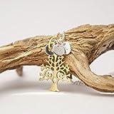Lebensbaum.Kette mit Initialen, personalisierte Kette mit Gravur, 925er Silberkette mit Gravur, vergoldet, Familienkette, Silber