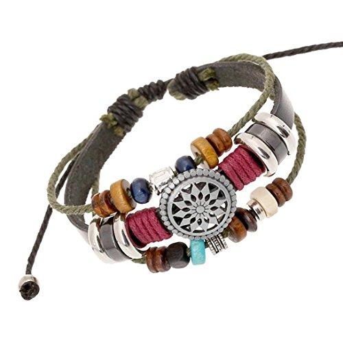 Sunnywill Mehrschichtige Hand Wind Perlen gewebt Armband Vintage Bohemia für Mädchen Frauen Damen