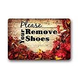 KLing Paillasson décoratif personnalisé, Veuillez enlever Vos Chaussures Tapis de Sol Lavable en Machine pour intérieur/extérieur 16 x 24, 40 x 60 cm...