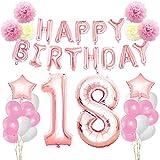 KUNGYO Zum 18. Geburtstag Party Dekorationen Kit-Rose Gold Happy Birthday Banner-Riesen Zahl 18 und Sterne Helium Folienballons, Bänder, Papier Pom Blumen, Latex Ballon, Alles Gute Zum Geburtstag für Frauen