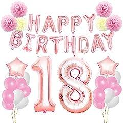 Idea Regalo - KUNGYO Rosa Oro Buon Compleanno Decorazioni Kit per 18 Anni-Rose Gold Happy Birthday Bandiera- Numero Gigante 18 e Stelle Palloncini Foil, Nastri, Carta Pom Fiori, Palloncini in Lattice, Perfetta Forniture per Feste per le Donne