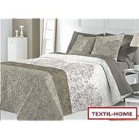 Textilhome - Colcha Bouti LARISA - Cama 150 - 250x270cm. Color Beige + 2 Fundas Cojín 60X60cm.