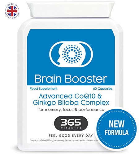 Brain Booster | NEW Formula | Natural Super Food Supplement | Advanced Formula with CoQ10, Ginkgo Biloba and B3, B5 & B12 for Enhanced Memory, Mental Focus & Performance | Vegan Friendly (60 Capsules) Test