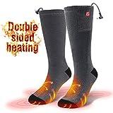 CAVEEN Beheizbare Socken für Damen und Herren, Beheizte Socken mit Akku Baumwolle Heizsocken Beidseitige Beheizung 3 Gänge Fußwärmer Erwärmbare Socken für Zuhause Outdoor Sports