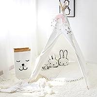 Lebze Tente Teepee pour les enfants - 100% Toile coton naturel Jouer Tente pour enfants Blanc