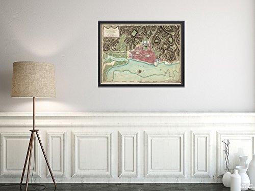 New York Karte Company (TM) 1786Karte Haiti Nord Cap-Haïtien Plan de la Ville Du Gap Francois et de SES Umgebung Dans L 'Isle Vintage Fine Art Reproduction Ready Zum Rahmen